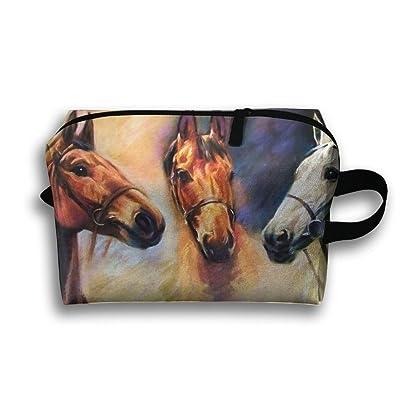 75d32d8e0e Red And White Horse Travel Bag Cosmetic Bags Brush Pouch Portable Makeup Bag  Zipper Wallet Hangbag Pen Organizer Carry Case Wristlet Holder