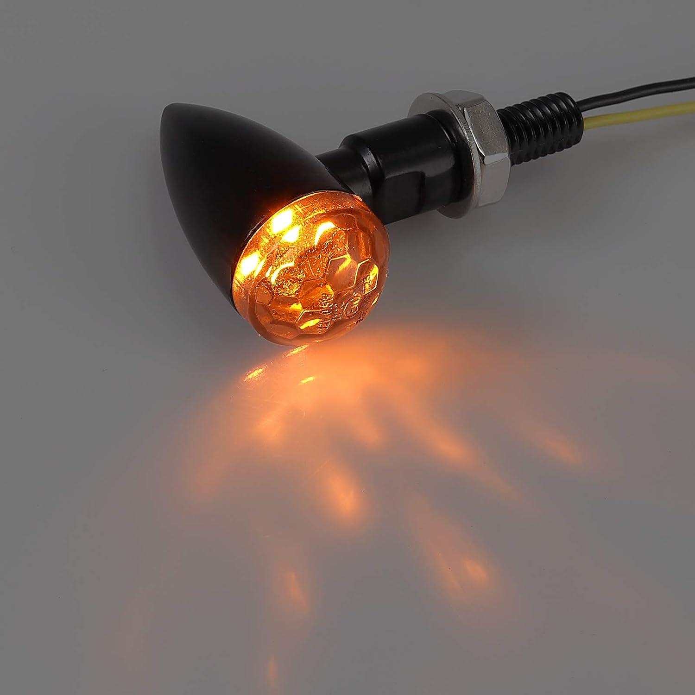 CAMWAY 4pcs E-Marked Universal Waterproof Motorcycle Motorbike 4LED Micro Mini Turn Signal Indicator Amber Light M8