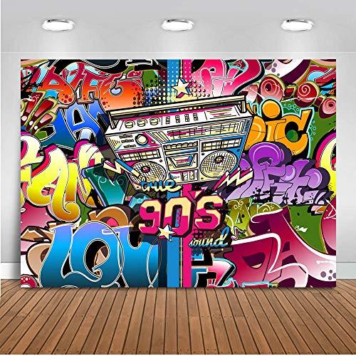 Mocsicka Hip Hop Backdrop 8x6ft Vinyl 90s Graffiti Wall 1990s Radio Retro Style Photo Booth Backdrops 90s Party Decoration Banner Happy Birthday Photography -