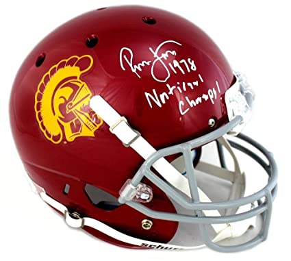 d1c4e2592 Image Unavailable. Image not available for. Color  Ronnie Lott Signed USC  Trojans Schutt Full Size NCAA Helmet ...