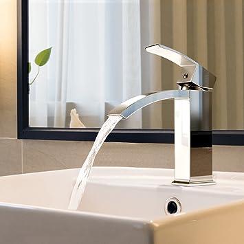 BONADE Wasserfall Wasserhahn Chrom Einhebel-Waschtischarmaturen Bad ...