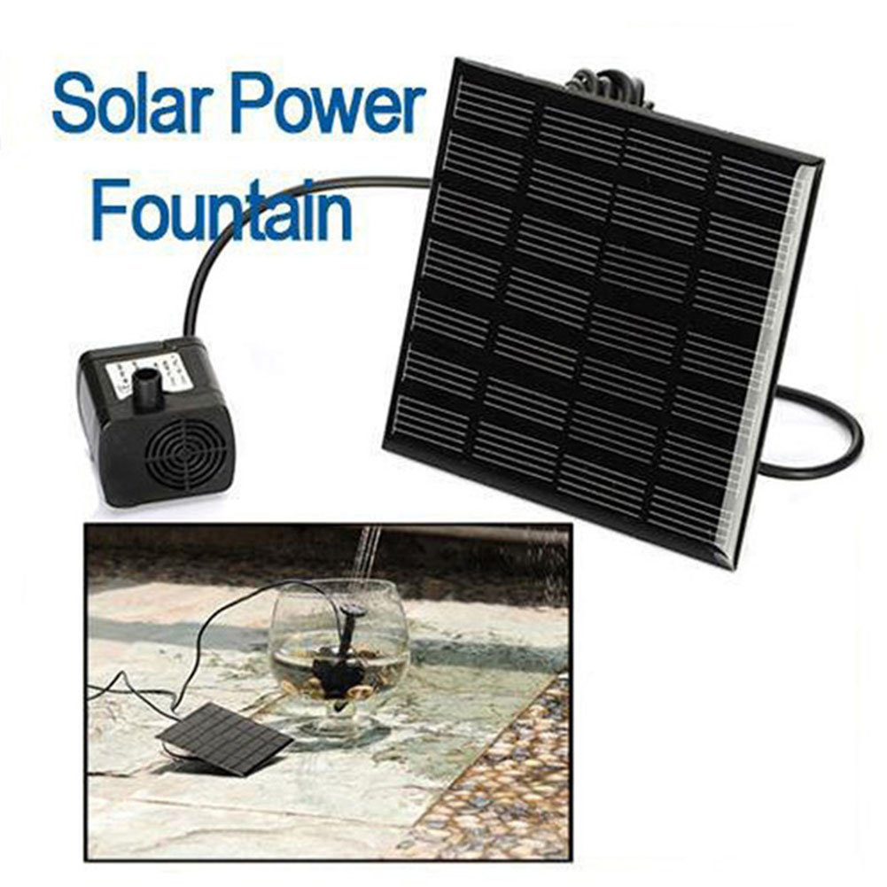 ETbotu Solar Fountain Pump with 9 Different Nozzles, 4.5-10V Solar Powered Panel Pond Outdoor Mini Fountain Kit