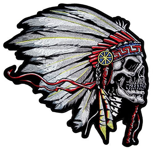 Leather Supreme Native American Indian Chief Headdress Skull Embroidered Biker