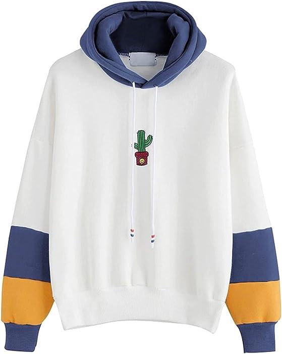 Mujer Sudaderas con Capucha Hoodies Estampadas De Cactus Basicas Manga Niñas Ropa Larga Sweatshirts Deportivas Casual Patchwork Hipster Sudadera Invierno ...