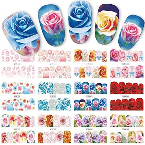 12 sets red rose flower floral roses nail decals water transfer nail vinyls nail tattoo beautiful nail art accessories
