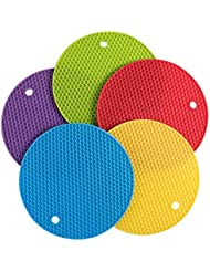 daixers 5pcs extra thick silicone trivet mat hot pads non slip silicone insulation mat - Kitchen Hot Pads