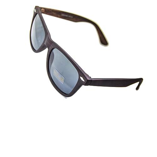 IRIS GLASS gafas de sol de policarbonato, efecto madera, Puente y motivos en acero, Cristales de Espejo de alta calidad con maxima proteccion solar (clase-3 - AV-400)
