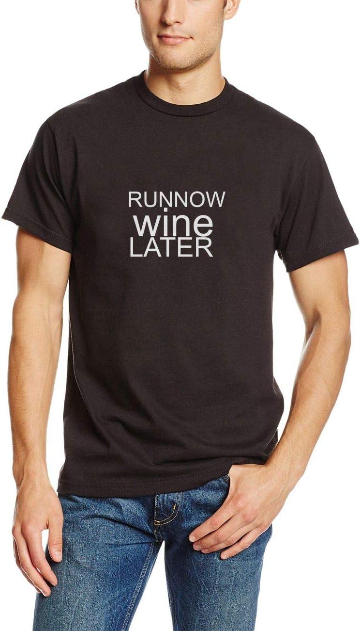 Camisetas Hombre Verano Camisas Cómico Ejecutar Ahora Vino Más Tarde Entrenamiento Divertido Alcohol Hombre Hombre tee(Can Custom-Made Pattern) (Color : Negro, Size : 2XL): Amazon.es: Equipaje