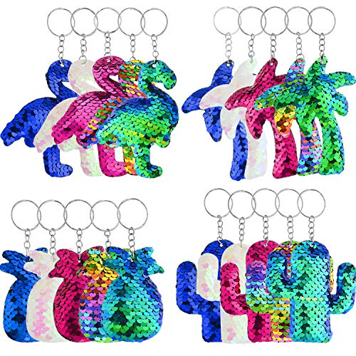 20 Pieces Flip Sequin Keychain Flamingo Keychain Pineapple Key Ring Glitter Sequins Keychain with Cactus Coconut Tree for Hawaii Party Supplies Party Favors, 4 Styles, 5 Colors]()