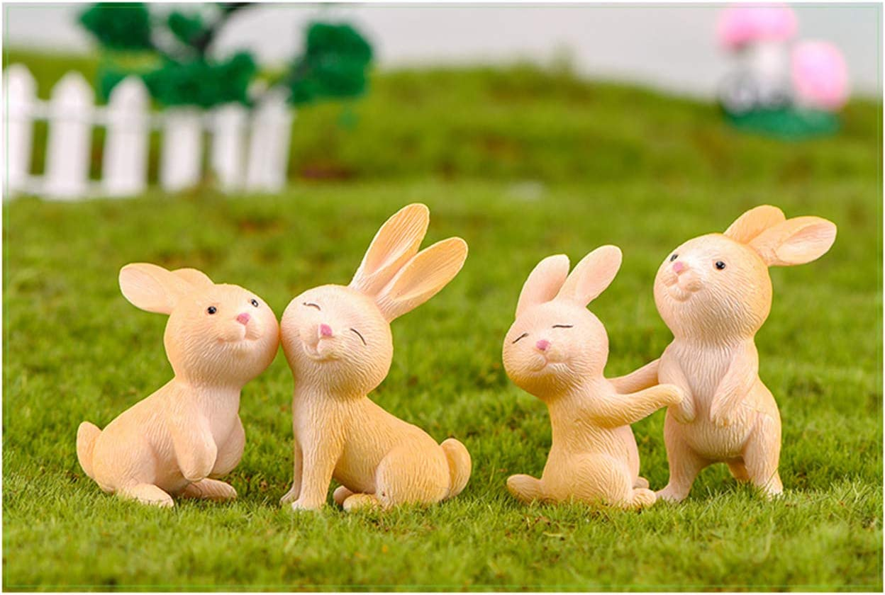 Easter Bunny Cake Topper,Easter Rabbit Figurine for Kids Rabbit Fairy Garden Miniature Figurines Collection Playset for Christmas Birthday Gift Desk Decorations