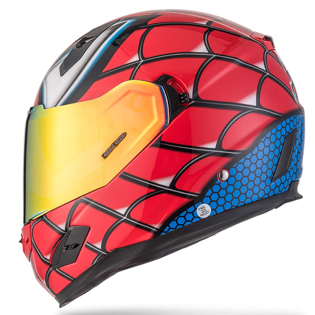 NENKI NK-856 Full Face Spiderman Motorcycle Helmet For Adult and Youth Street Bike with Iridium Red Visor and Sun Shield DOT Approved