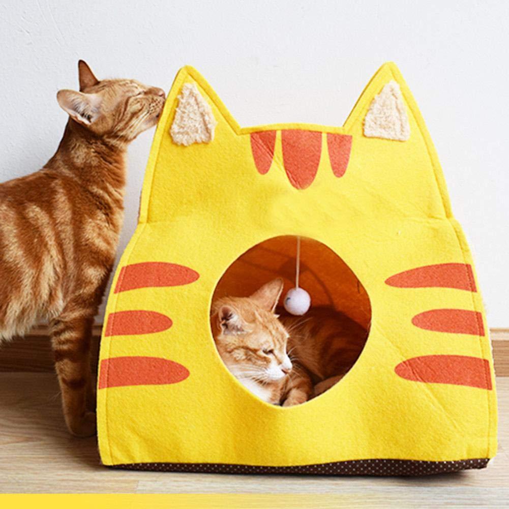 Juman634 Cat Sleeping Pack Pet Cave Felt Cartone Animato Cat Mat Cat House Cushion Warm Cat Sacco a Pelo per Four Seasons Dark Grey