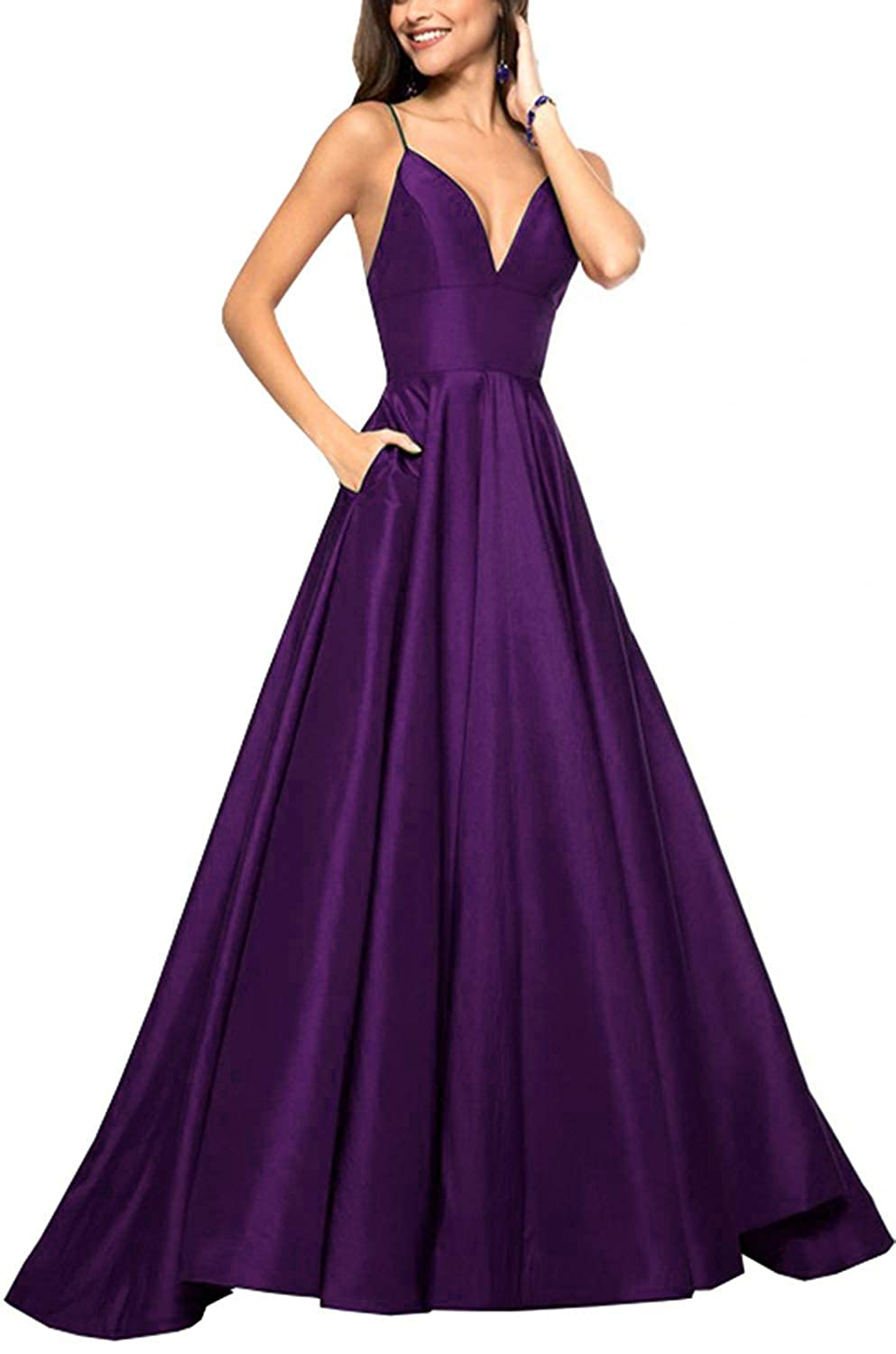 Purple QiJunGe V Neck Evening Party Gown A Line Spaghetti Strap Prom Dress with Pocket