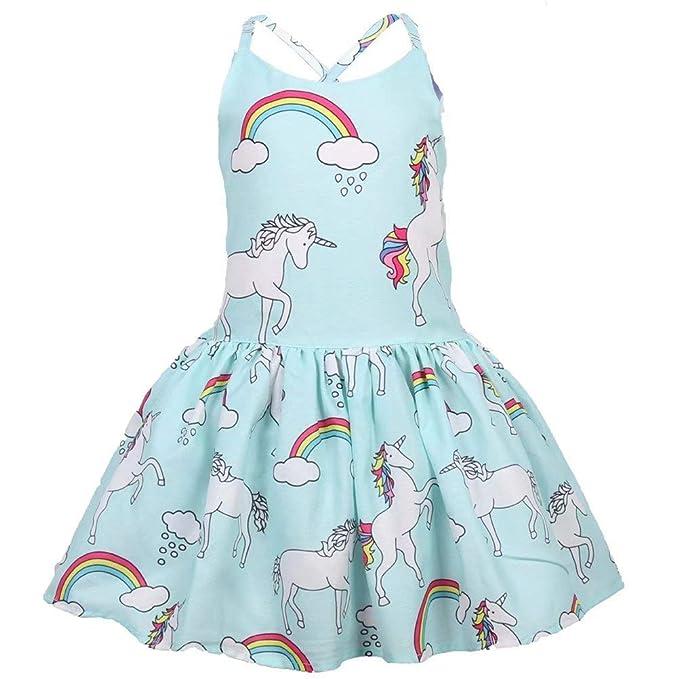 43cb2dc99899 Baby Girls Sundress Unicorn Strappy Backless Dress Toddler Pageant Dresses