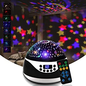 Star Projector Night Light for Kids,Baby Night Light Projector for Bedroom White Noice Machine - with Moon Timer Remote and Music Speaker - Best Gift for Kids - Black