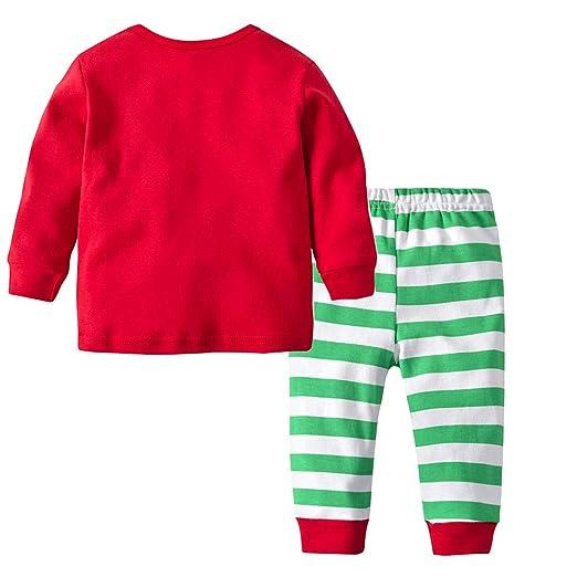 7d88f0ed90 Disfraz Navidad Pijama Niño Niña Bebe Elfo Tops de Manga Larga +  Pantalones  Amazon.