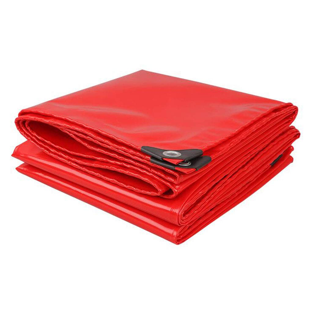 LEGOUGOU Rotes Gepolstertes Segeltuch-Regentuch Multifunktionales Wasserdichtes Sonnenschutz-Sonnenschutztuch LKW-Plane 520g Pro Quadratmeter Dicke 0,45MM