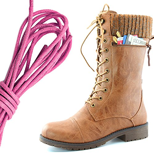 DailyShoes Womens Combat Style Lace up Ankle Bootie Round Toe Military Knit Credit Card Knife Money Wallet Pocket Boots, Pink Tan Pu