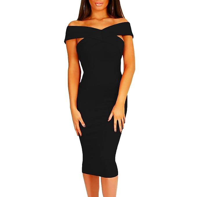 c272f5c4fe60 Toocool - Vestito Donna Mini Abito Aderente Tubino Elegante Spalle Nude  Nuovo DL-2066 [L,Nero]: Amazon.it: Abbigliamento