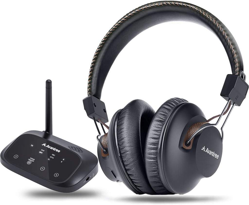 Avantree HT5009 Largo Alcance 40 Horas Auriculares Inalámbricos para TV con Transmisor Bluetooth (Óptico, RCA, AUX), para Ver la TV con Auriculares y Altavoces con Cable Simultáneamente: Amazon.es: Electrónica
