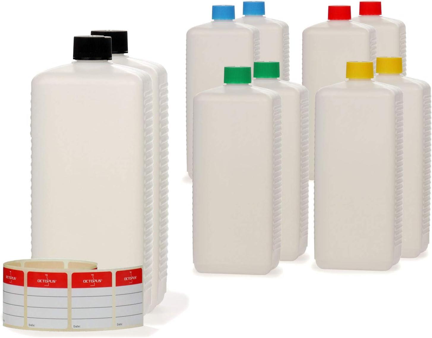 10x 1000ml Octopus botellas de plástico, HDPE botellas de plástico con multicolores agarraderas, vacío botellas botellas de cuadrado con tapa de rosca., incluye etiquetas etiquetas