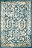 A2Z Rug Teal 6′ x 9′ FT St. Martin Collection Area rug – Vintage Inspired Overdyed Perfect for Living Dinning Room and Bedroom Rugs, Interior Modern Floor Carpet Design
