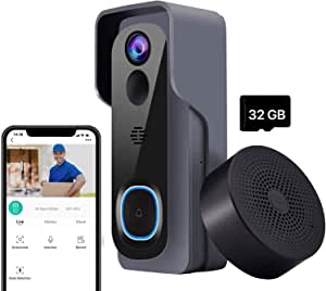 Video Doorbell with Chime【2020 Upgraded Version】, Compatible with Amazon Alexa and Google Home Assistant, 1080P Wireless Doorbell Camera with Motion Detection, Real-Time Notification, Two-Way Audio, IP65 Waterproof, Night Vision, 32GB Pre-installed