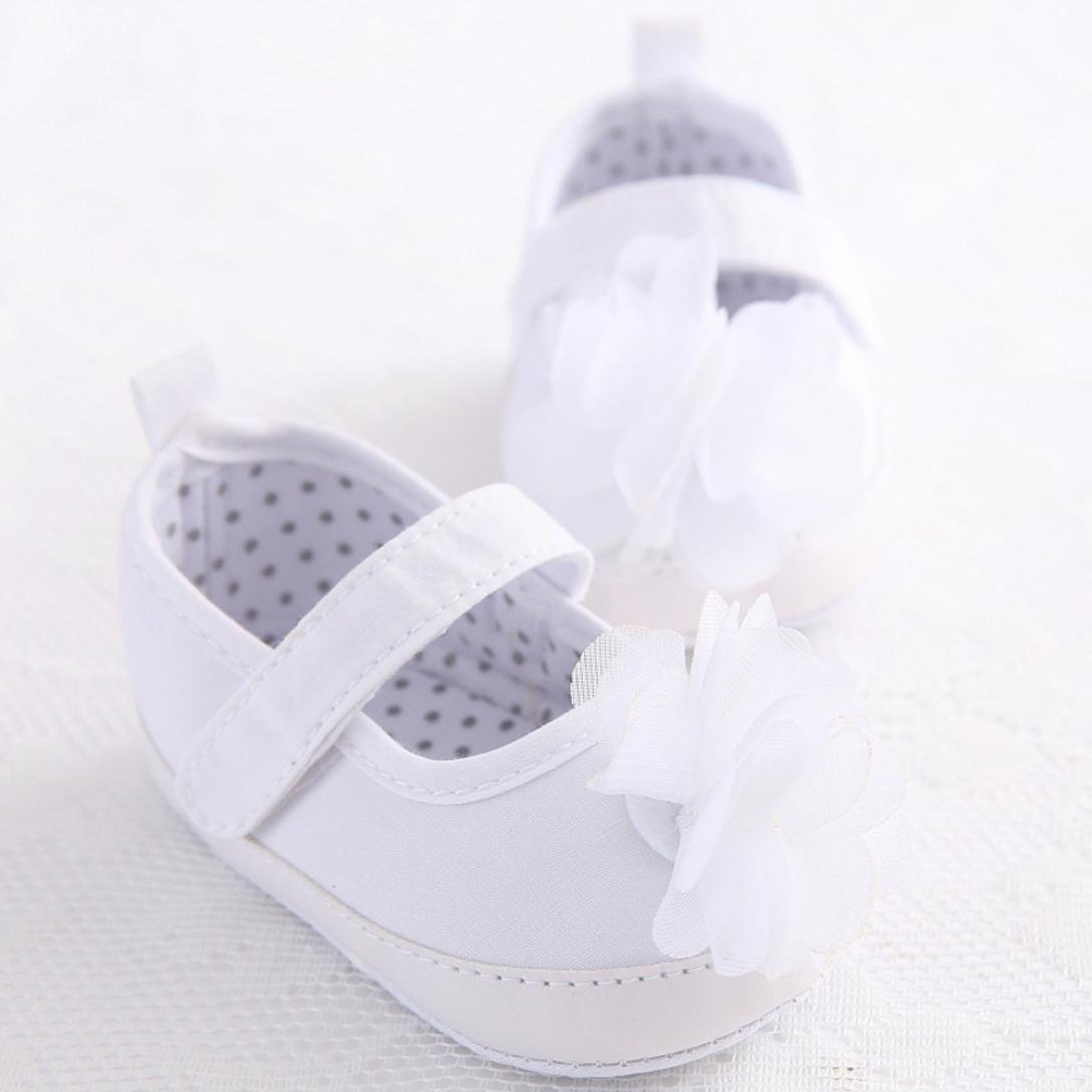 WARMSHOP Baby White Shoes Girl Toddler Flower Soft Sole Anti-Slip Baby Jean Sneakers