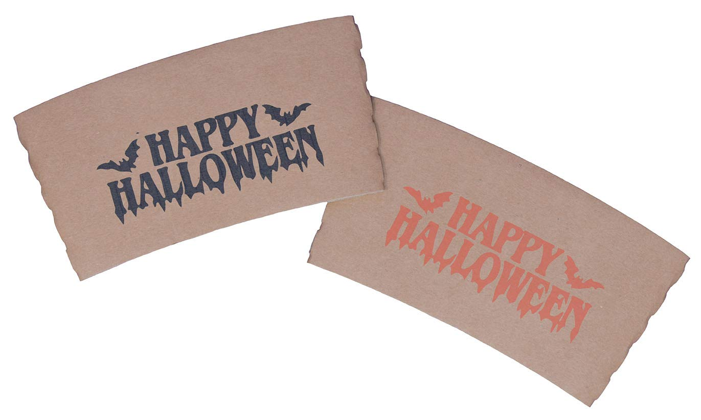 Pack of 56ct Perfect Stix Coffee Sleeves with Happy Halloween Print