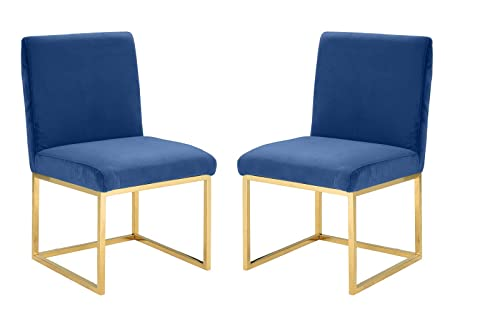 2 Piece Velvet Dining Room Chairs, Accent Chairs Navy