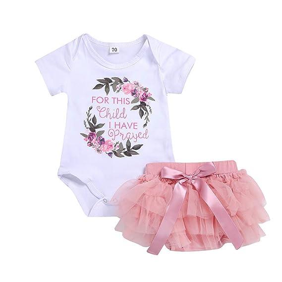 Amlaiworld Counjunto de Ropa bebé niña Verano Recién Nacido bebé niñas Floral Camiseta Monos Verano Mameluco Tops Vestido de tutú Ropa Conjuntos ...