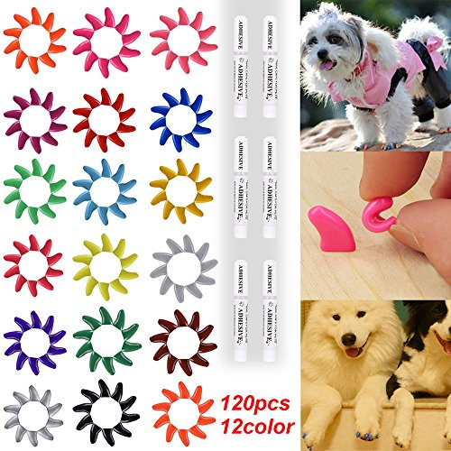 120Pcs(12Color) Dog Claw Caps Soft Rubber Pet Paws Nail Grooming Cover + 6 Adhesive Glue(S)