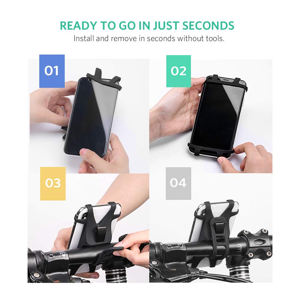 Samsung Galaxy S10 S10e S9 S8 Plus S7 Edge Note 9 8 UGREEN Bike Phone Mount Bicycle Holder 4 to 6.2 inch Phone Screen Compatible for iPhone Xs Max XR X 10 8 7 6 Plus Google Pixel 3 2 XL LG G5 G6