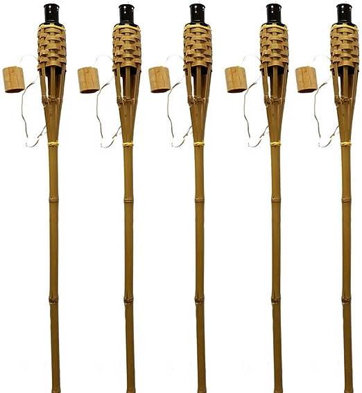 K & F 24 unidades bambú Antorchas de jardín 120 cm Butt marrón, aceite, Antorchas con