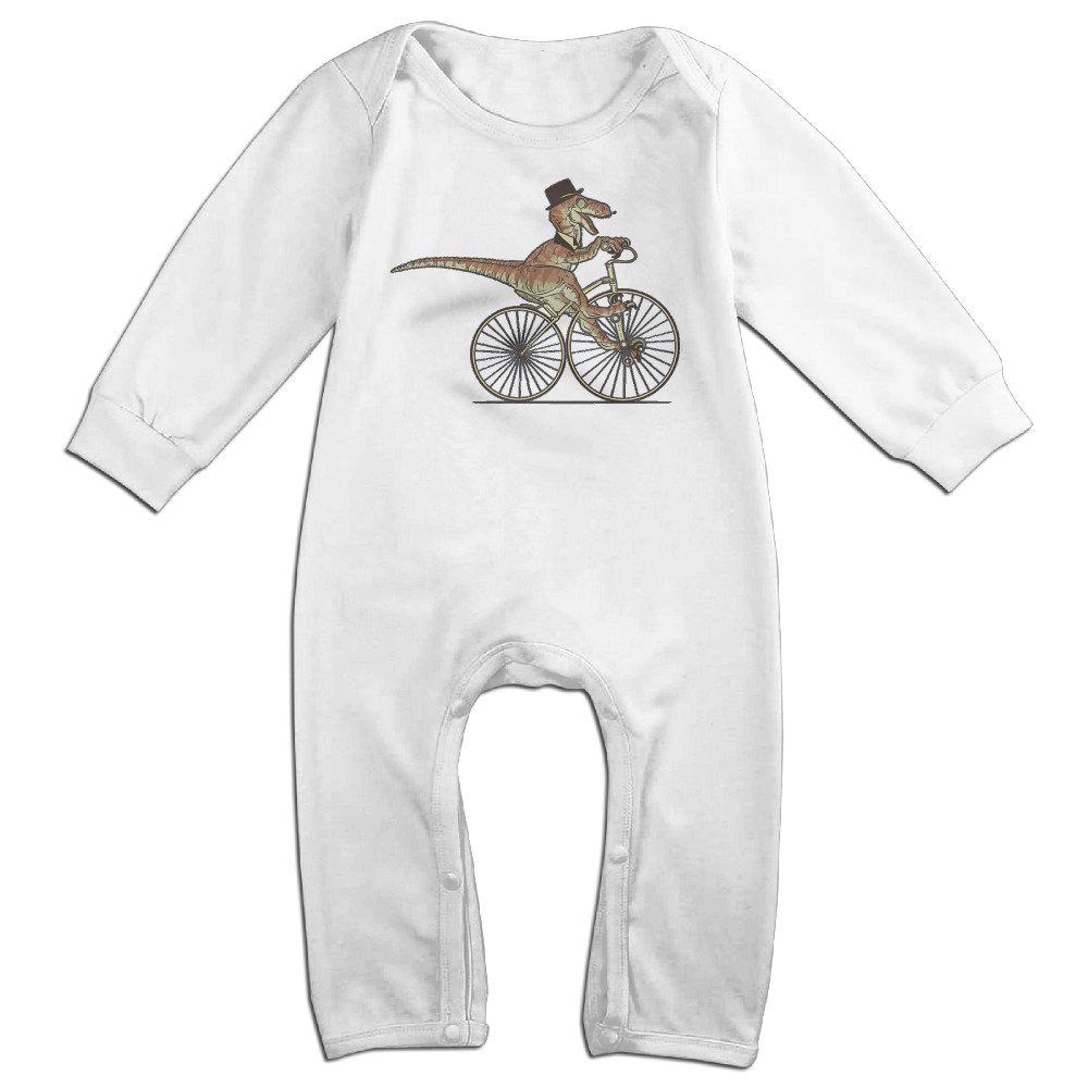 ROBERT Baby Infant Romper Sir Raptor Rides A Bike Long Sleeve Bodysuit Outfits Clothes