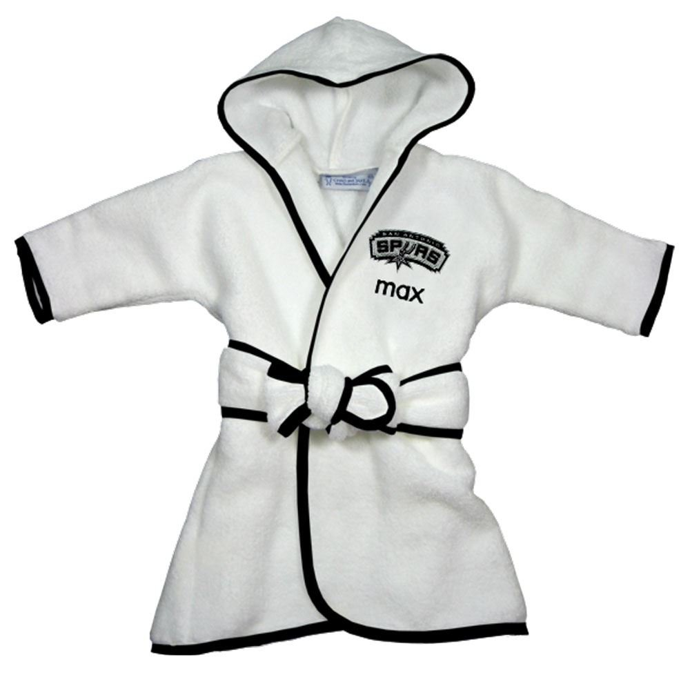 Custom San Antonio Spurs Hooded Baby Bath Robe, Officially Licensed by Designs by Chad and Jake