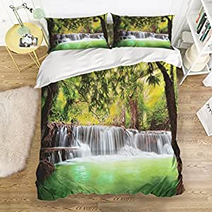 Scenic waterfall Home Comforter Bedding Sets Duvet Cover Sets Bedspread ,Flat Sheet, Shams Set 4Pieces,(King)for Adult Kids girls