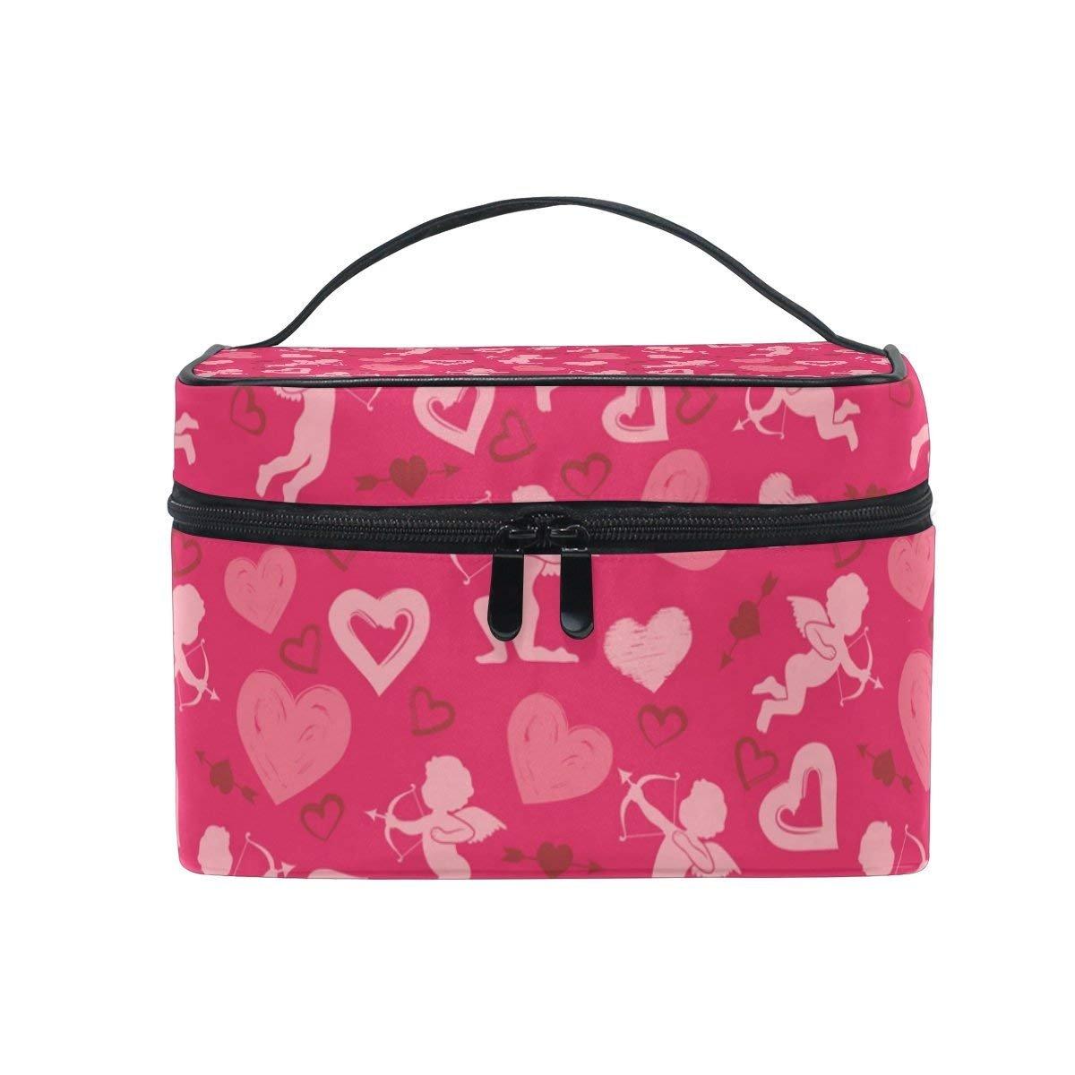 Makeup Bag Love Heart And Arrow Mens Travel Toiletry Bag Mens Cosmetic Bags for Women Fun Large Makeup Organizer