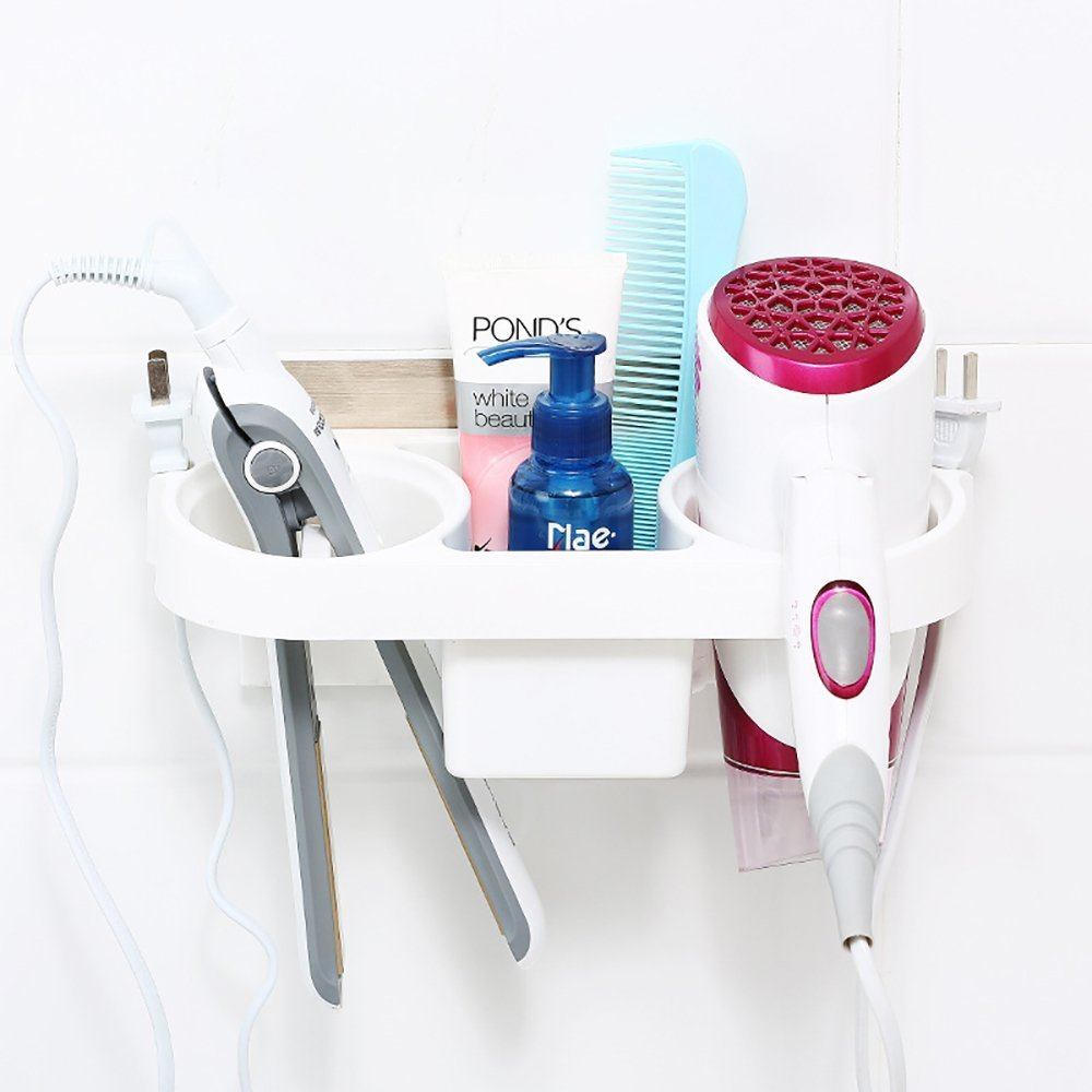 Hair Dryer Flat Iron Holder Wall Mount with Organizer White Plastic by Zondam