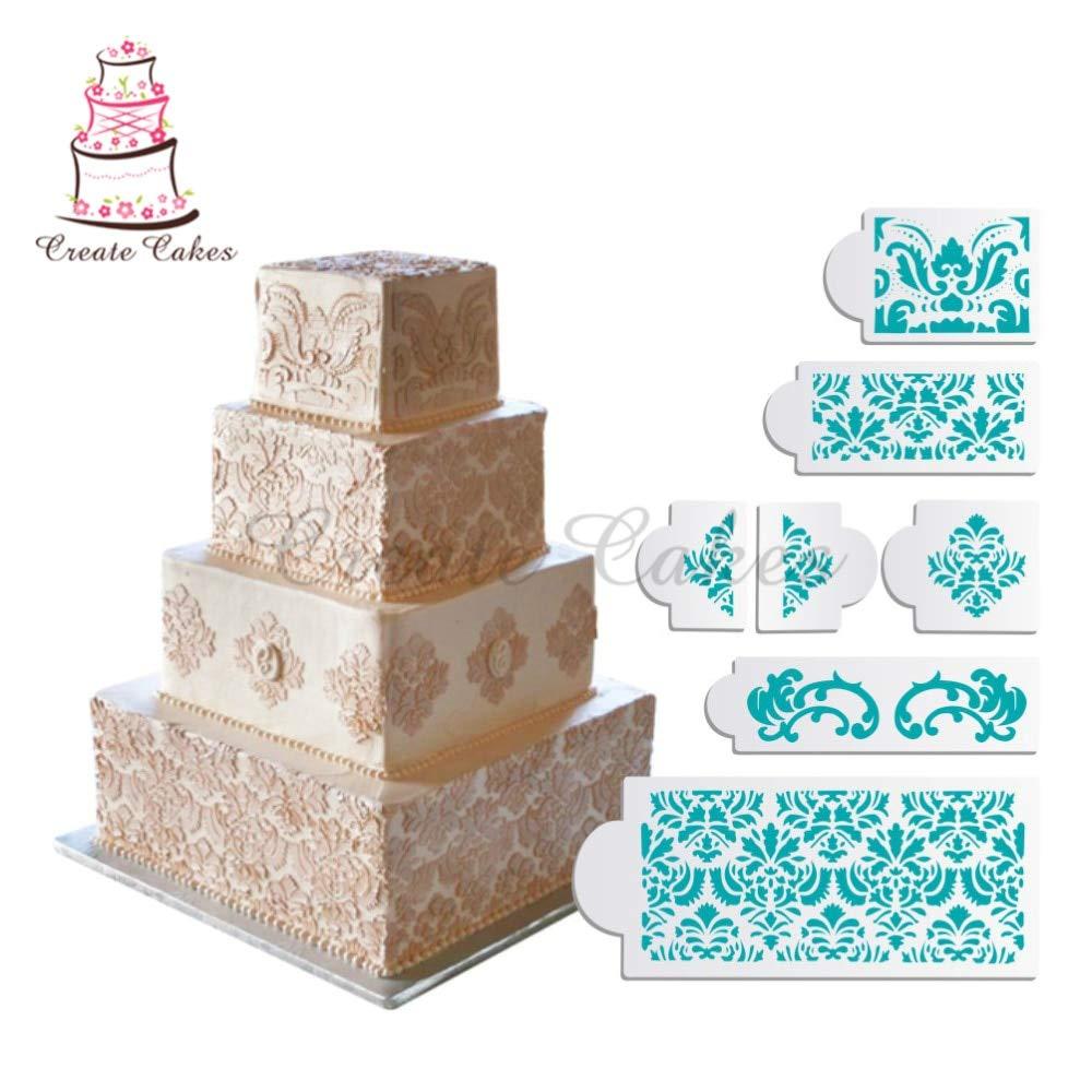 1 piece 7pcs/set Martha Stewart's Damask Cake Stencil Cake Border Decorating Molds Wedding Cake Stencil Cake Decorating Tools