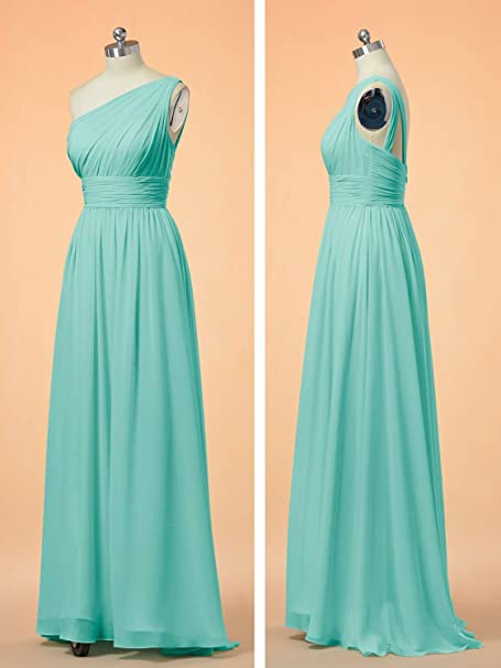 One Shoulder Bridesmaid Dress for Women Long Evening Party Gown Maxi