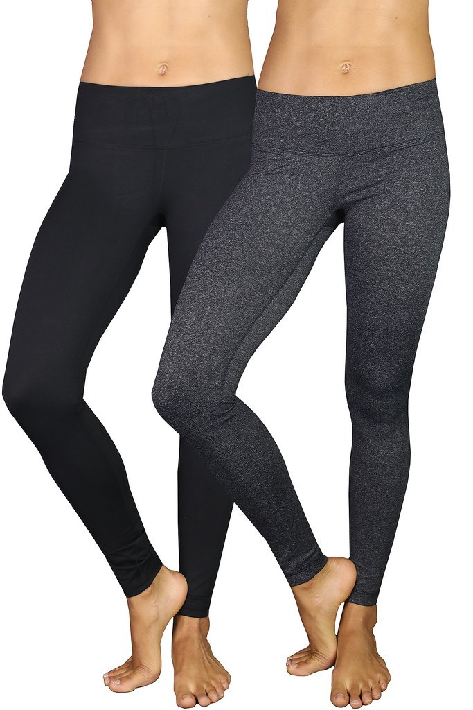 90 Degree By Reflex Power Flex Yoga Pants - Black and Heather Charcoal 2 Pack XS