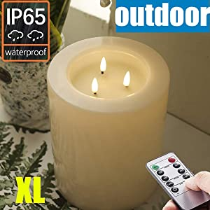 "OUTDOOR XL 6"" x 8"" Large Flameless Candles with Remote .Rainproof Waterproof . LED Battery Operated .Flickering Pillar CANDLES--3-C Batteries runs 500hours (Not included)"