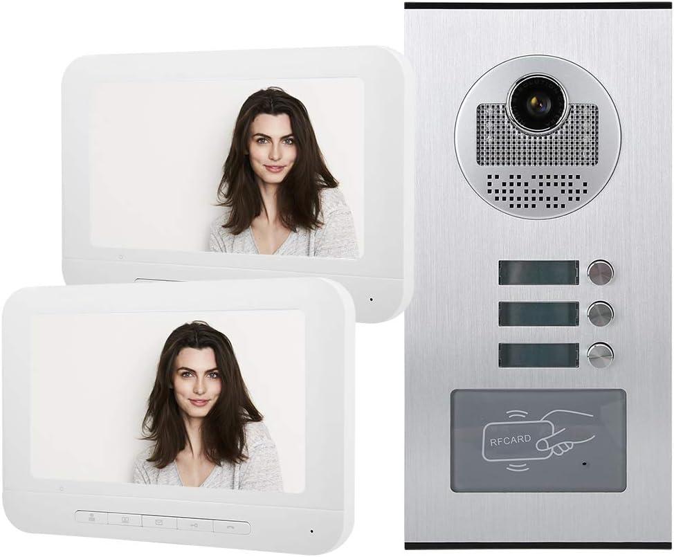 Smart 7 Inches Video Intercom Doorbell RFID Visual Access Control System Home Security Entry Intercom System IR Night Vision (2 Monitors 1 Camera)