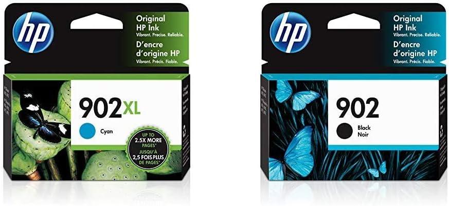 HP 902XL | Ink Cartridge | Cyan | T6M02AN & 902 | Ink Cartridge | Black | T6L98AN