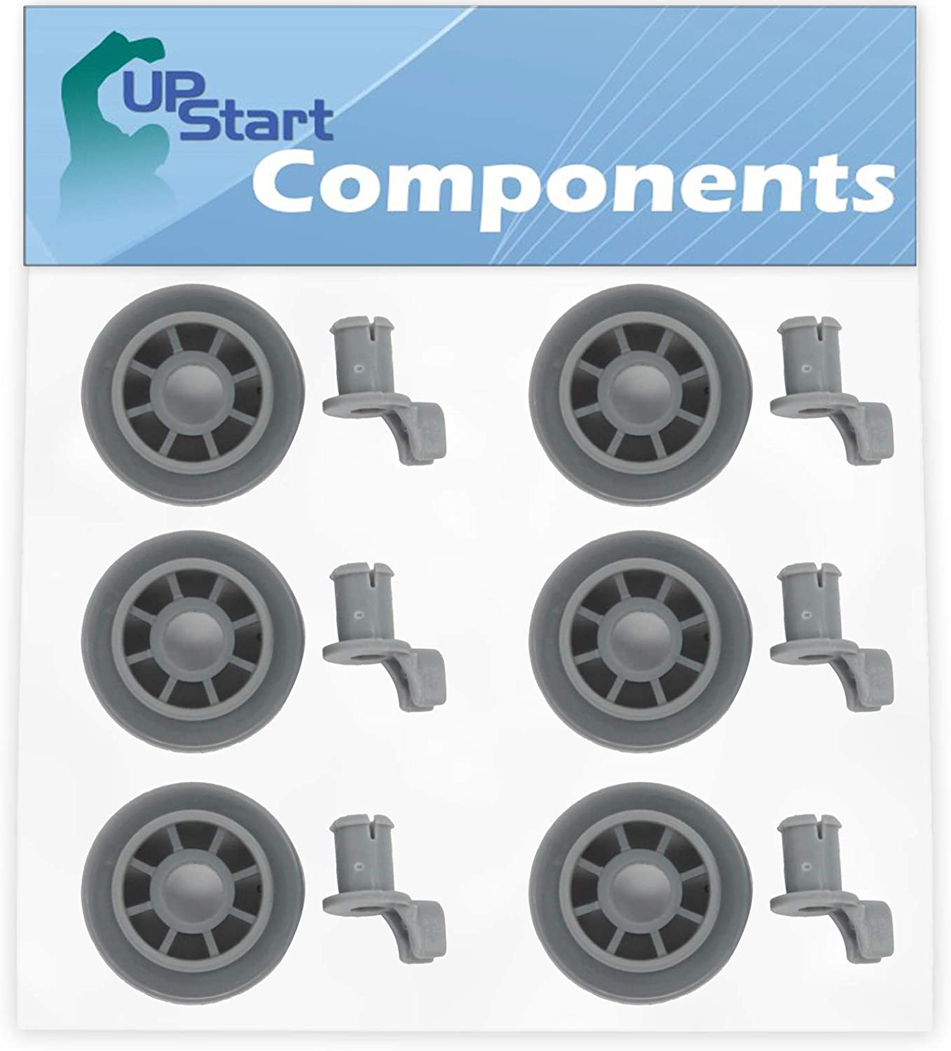 6-Pack 165314 Dishwasher Lower Dishrack Wheel Replacement for Bosch SHE4AM12UC/01 Dishwasher - Compatible with 00165314 Lower Rack Roller - UpStart Components Brand