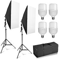 "Professional Photography 20""x28""/50x70cm Softbox with E27 Socket 4X 25W LED Light Lighting Kit for Photo Studio…"