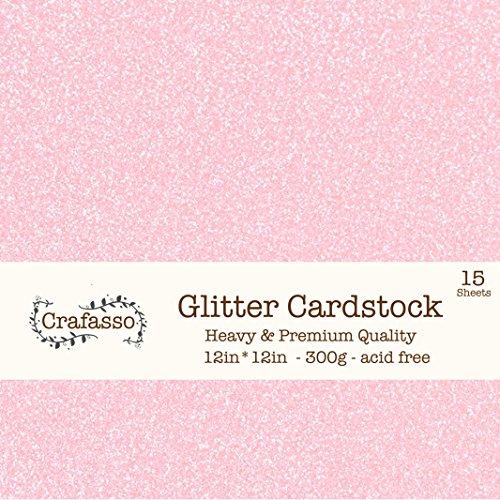 "Crafasso 12"" x 12"" 300gms Heavy & Premium Glitter cardstock, 15 Sheets, Light Pink"