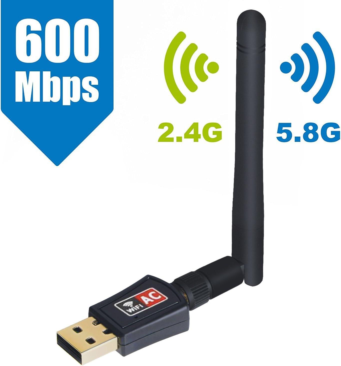 SeeKool Receptor WiFi AC600 Dual Band 5.8 GHz 600Mbps o 2,4 GHz 150 Mbps WLAN Adaptador USB Inalámbrico con Antena Desmontable WiFi Dongel para Windows XP/Vista/7/8/10, Mac OS: Amazon.es: Electrónica