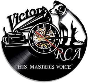 Vinyl Wall Clock Record RCA Victor Dog Voice of his Musical Master Dog Victor Nipper Vintage Dog Rock n roll Music Gift